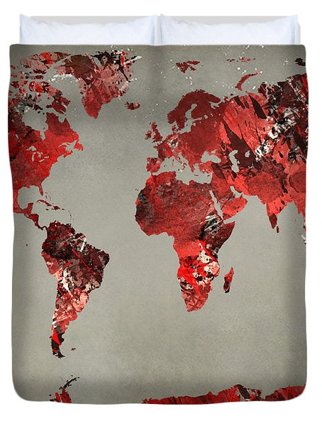 World Map - Watercolor Red-black-gray Duvet Cover