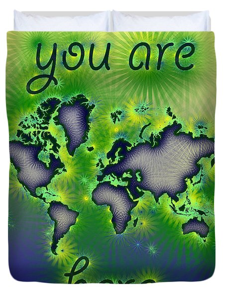 World Map You Are Here Amuza In Blue Yellow And Green Duvet Cover by Eleven Corners