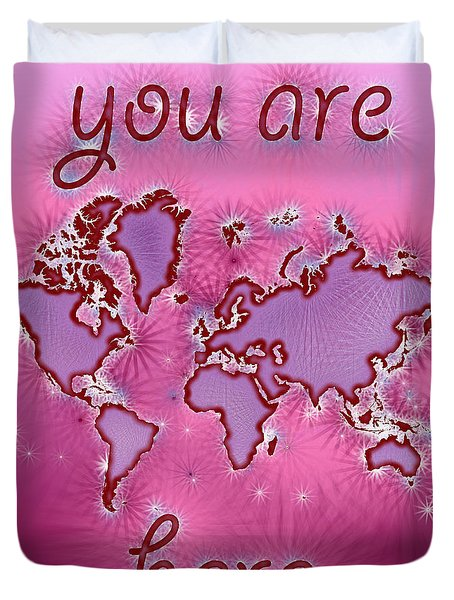 World Map You Are Here Amuza In Purple And Pink Duvet Cover by Eleven Corners