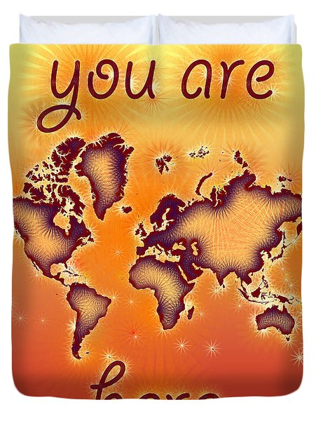 World Map You Are Here Amuza In Red Yellow And Orange Duvet Cover by Eleven Corners