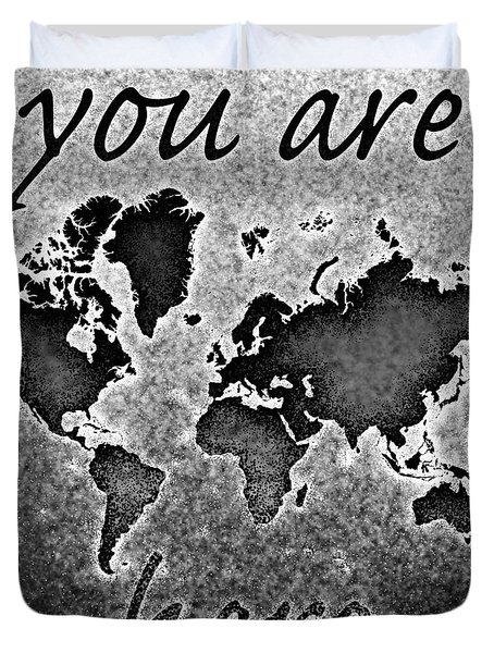World Map You Are Here Novo In Black And White Duvet Cover by Eleven Corners