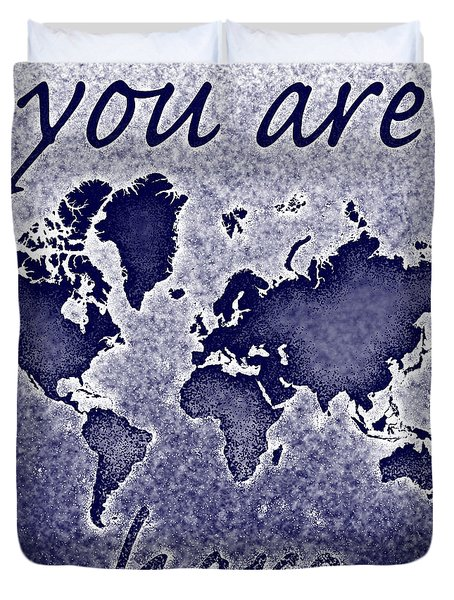 World Map You Are Here Novo In Blue Duvet Cover by Eleven Corners