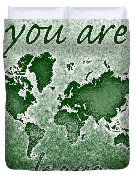 World Map You Are Here Novo In Green Duvet Cover by Eleven Corners