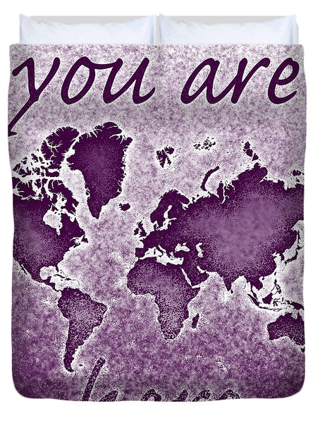 World Map You Are Here Novo In Purple Duvet Cover by Eleven Corners