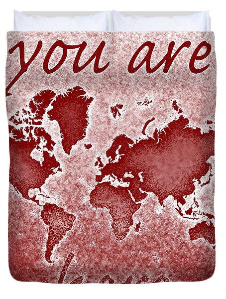 World Map You Are Here Novo In Red Duvet Cover by Eleven Corners