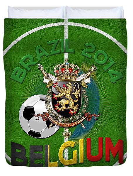 World Of Soccer 2014 - Belgium Duvet Cover by Serge Averbukh
