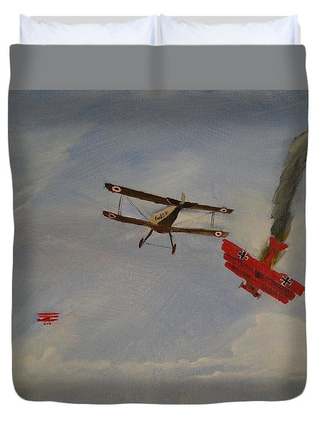 World War I Dogfight 3 Planes In Battle Duvet Cover by Carl S Kralich