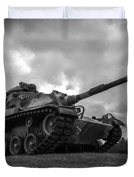 World War II Tank Black And White Duvet Cover