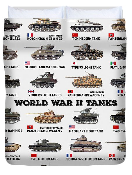 World War II Tanks Duvet Cover