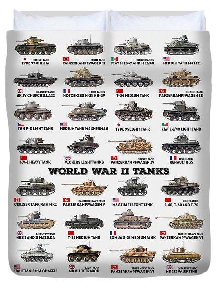 World War II Tanks Duvet Cover