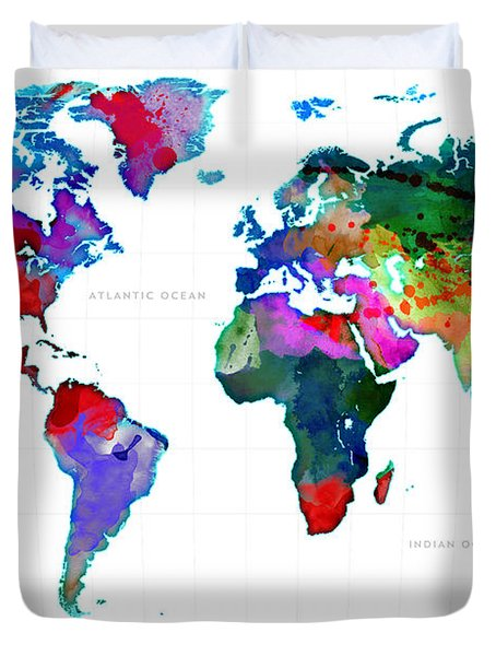 World Watercolor Map #3 Duvet Cover