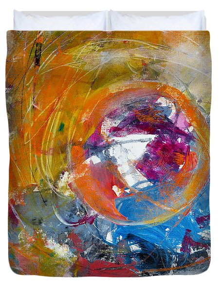 Duvet Cover featuring the painting Worldly  by Katie Black