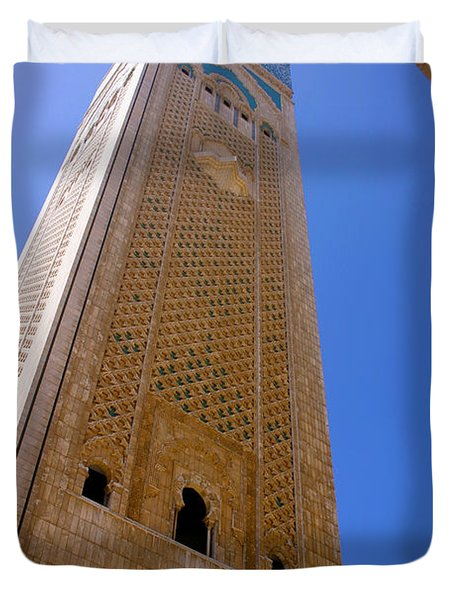 Duvet Cover featuring the photograph Worlds Tallest Minaret At 210m Hassan II Mosque Grand Mosque Sour Jdid Casablanca Morocco by Ralph A  Ledergerber-Photography