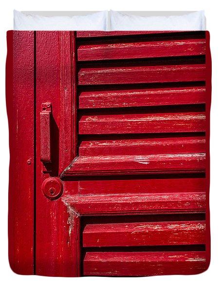 Worn Red Shuttered Door Duvet Cover by James Hammond