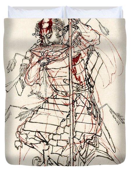 Wounded Samurai Drinking Sake C. 1870 Duvet Cover