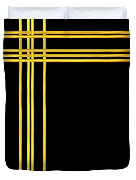 Woven 3d Look Golden Bars Abstract Duvet Cover by Rose Santuci-Sofranko