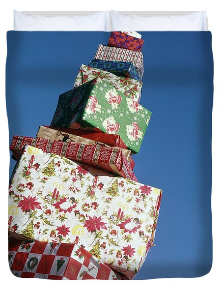 Wrapped Christmas Present Stacked Duvet Cover