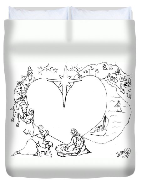 Wrapped In The Arms Of His Love Duvet Cover by Dawna Morton