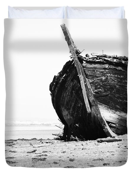 Wreckage On The Bay Duvet Cover by Marco Oliveira