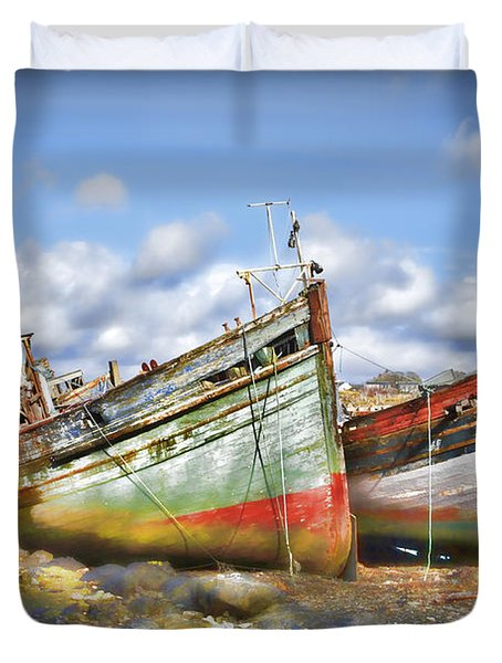 Duvet Cover featuring the photograph Wrecked Boats by Craig B