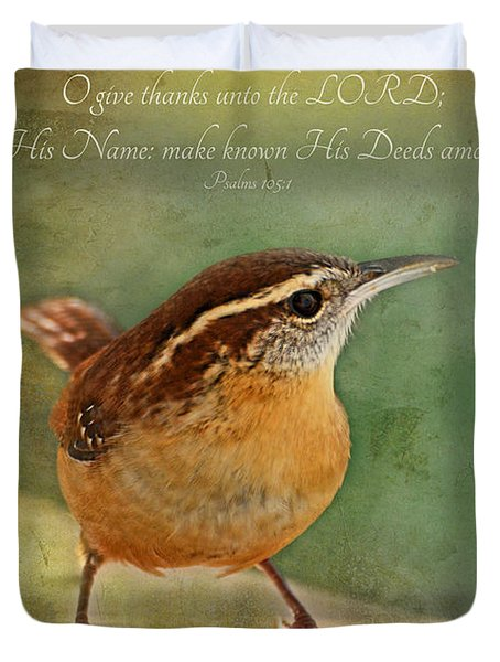 Wren With Verse Duvet Cover