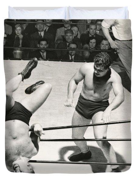 Wrestler Thrown Out Of Ring Duvet Cover