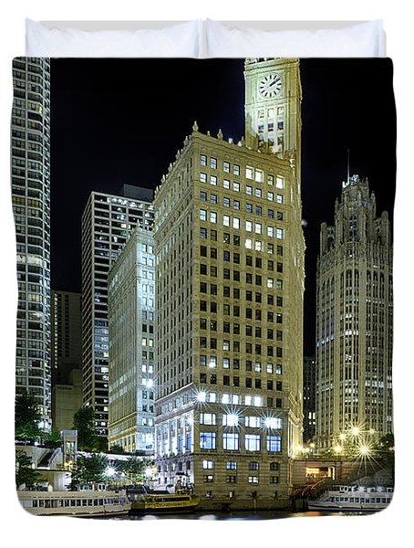 Wrigley Building At Night  Duvet Cover by Sebastian Musial