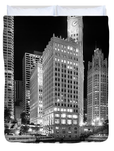 Wrigley Building Reflection In Black And White Duvet Cover by Sebastian Musial