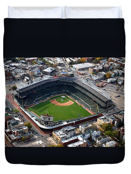 Wrigley Field Chicago Sports 02 Duvet Cover by Thomas Woolworth