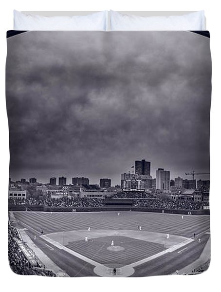 Wrigley Field Night Game Chicago Bw Duvet Cover by Steve Gadomski