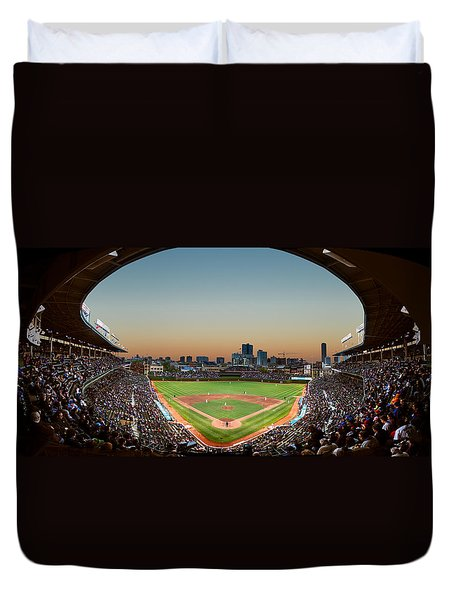 Wrigley Field Night Game Chicago Duvet Cover