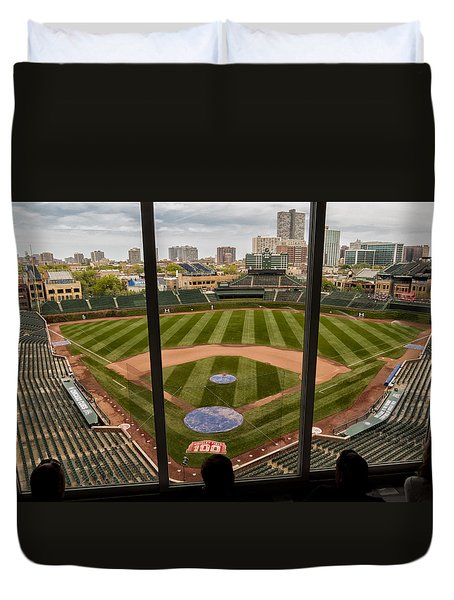 Wrigley Field Press Box Duvet Cover