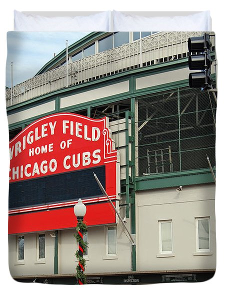 Wrigley Field Duvet Cover by Skip Willits