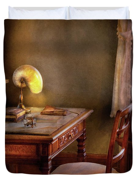 Writer - Desk Of An Inventor Duvet Cover by Mike Savad