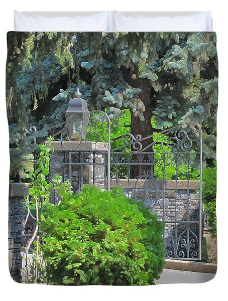 Wrought Iron Gate Duvet Cover by Donald S Hall