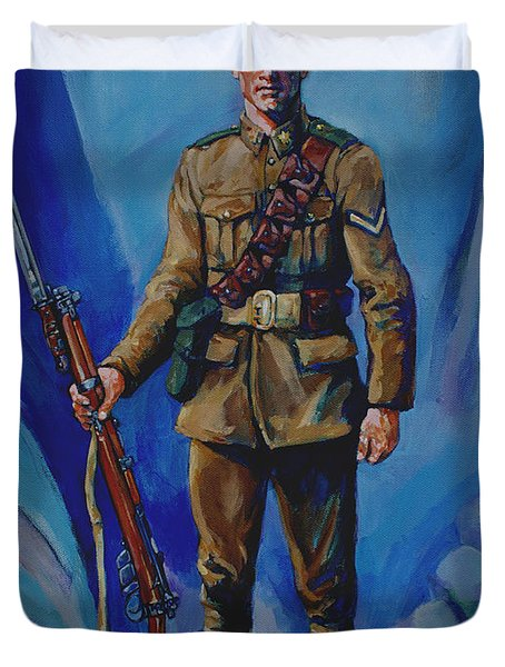 Ww 1 Soldier Duvet Cover by Derrick Higgins