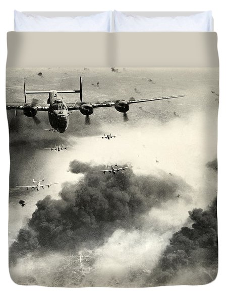 Wwii B-24 Liberators Over Ploesti Duvet Cover by Historic Image