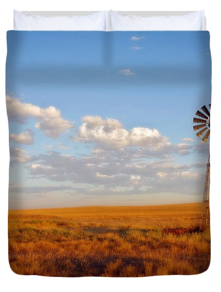 Windmill At Sunset Duvet Cover