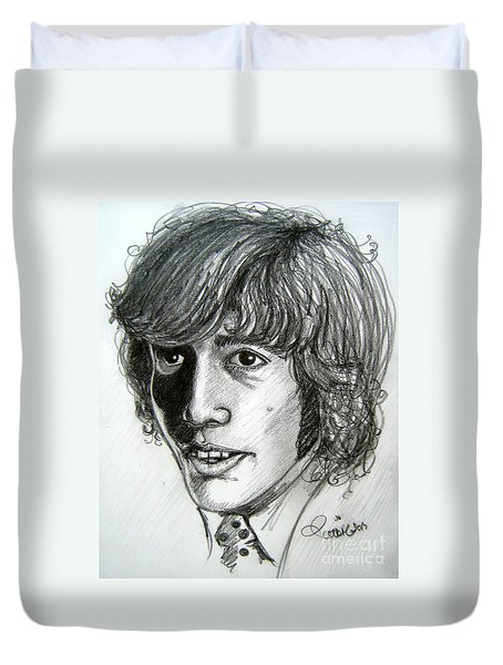 Duvet Cover featuring the drawing Robin Gibb by Patrice Torrillo