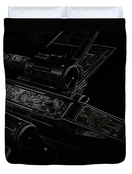 X Wing Fighter Color Duvet Cover by Chris Thomas