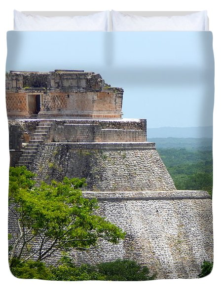 Xumal Pyramid Yucatan Mexico Duvet Cover by Michael Hoard
