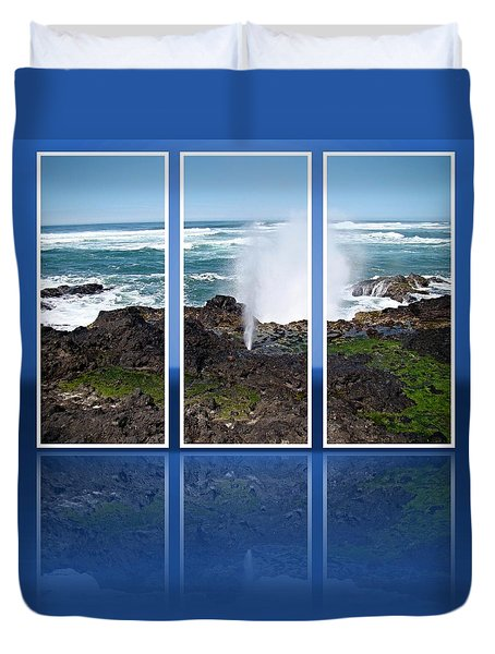 Duvet Cover featuring the photograph Yachats Bay Oregon by Nick Kloepping
