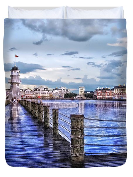 Yacht And Beach Club Lighthouse Duvet Cover