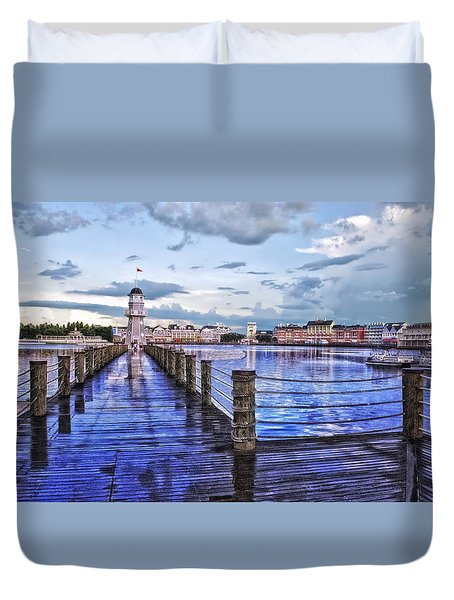 Yacht And Beach Club Lighthouse Duvet Cover by Thomas Woolworth