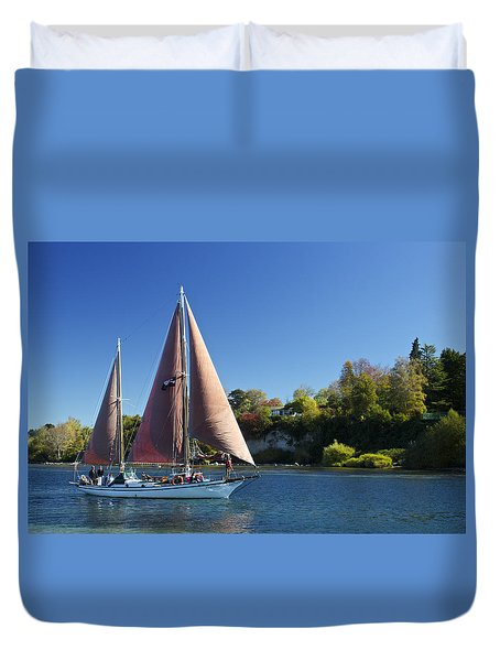Yacht Fearless On Lake Taupo  Duvet Cover by Venetia Featherstone-Witty