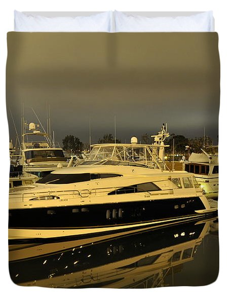 Duvet Cover featuring the digital art Yacht  by Gandz Photography