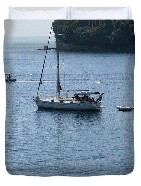 Yachts At Anchor Duvet Cover