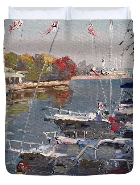 Yachts In Port Credit  Duvet Cover