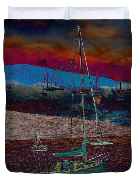 Duvet Cover featuring the photograph Yachts On The River by Leanne Seymour