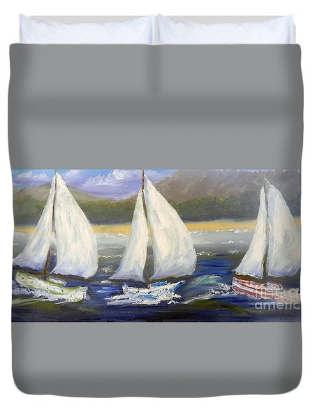 Yachts Sailing Off The Coast Duvet Cover